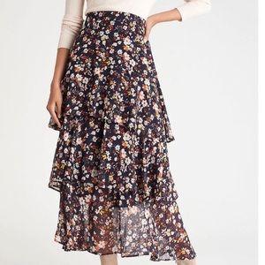 Ann Taylor 10 flounce tiered maxi skirt 0726